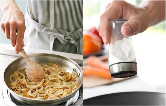 Соль нейтрализует неприятный запах лука