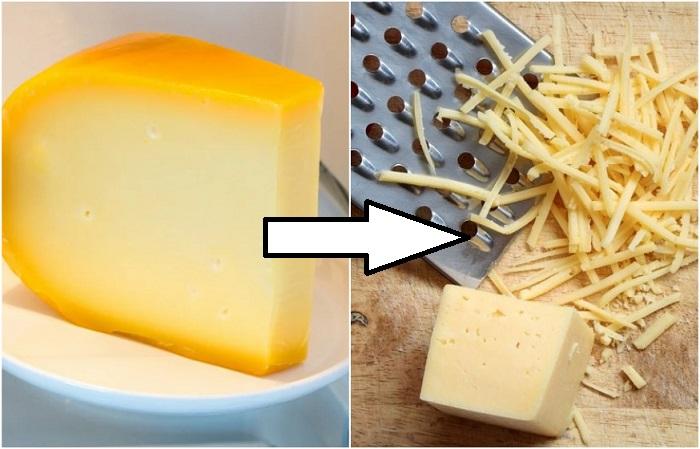 Замороженный сыр не липнет к терке