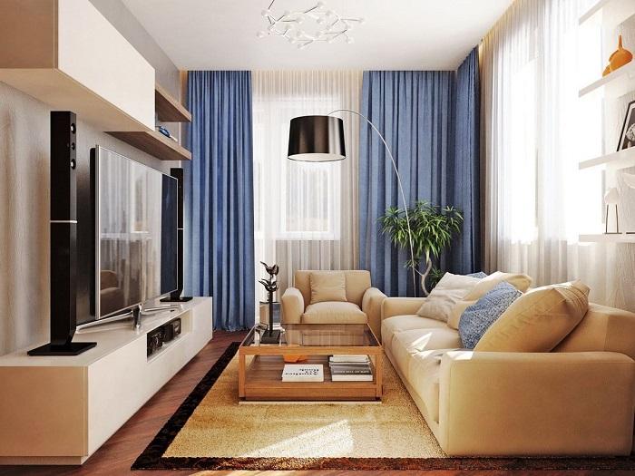 Ковер может быть подобран в тон мебели и не выделяться на общем фоне. / Фото: dizainexpert.ru