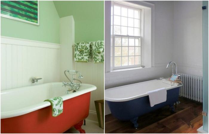 И красная, и синяя ванна отлично вписываются в интерьер