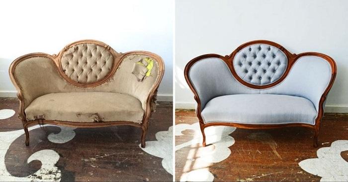 Перетяжка мебели тканью поможет превратить старый диван в модный и красивый. / Фото: dekormyhome.ru