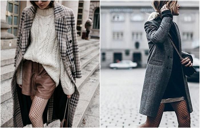 Колготки в сетку можно уравновесить обувью без каблука и драповым пальто