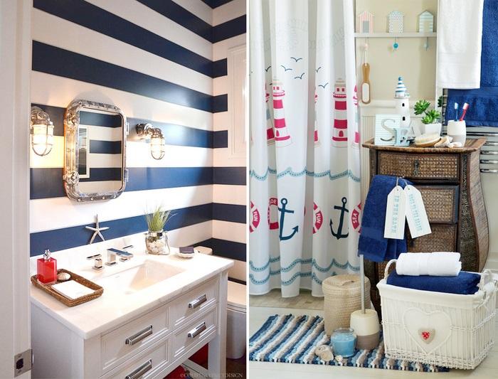 Душевая шторка, коврик и полотенца должны вписываться в интерьер. / Фото: kvartblog.ru