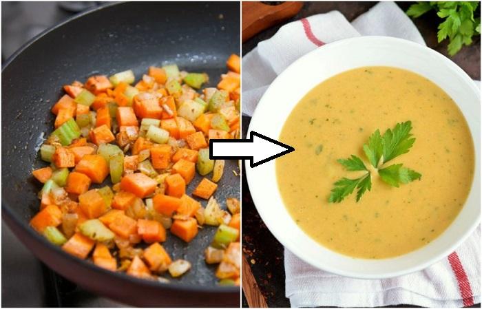 Жареные овощи лучше раскрываются в супе-пюре