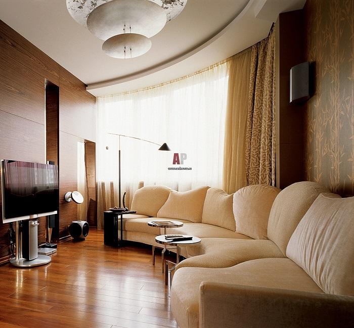 Используйте прием мебельного скругления в гостиной. / Фото: archrevue.ru