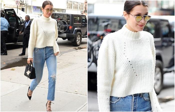 Укороченный свитер прекрасно смотрится с джинсами с высокой талией