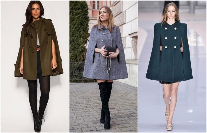 Пальто в стиле кейп на модных показах