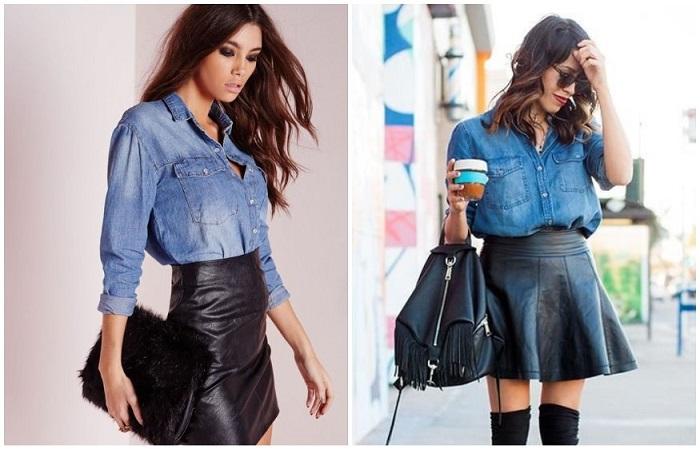 Джинсовая рубашка сделает кожаную юбку более свободной и небрежной