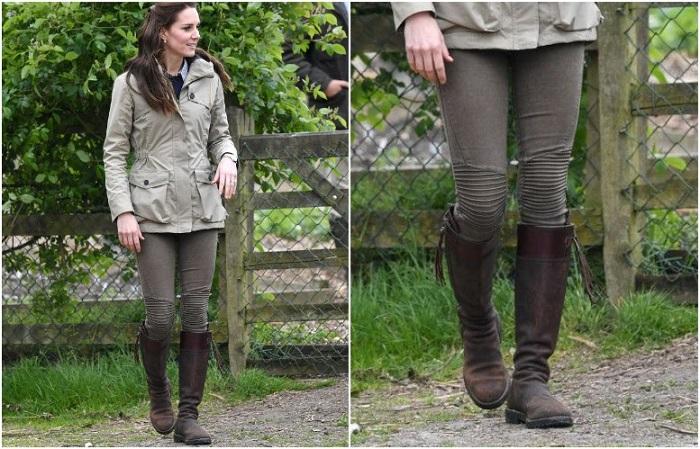Кейт в оливковых джинсах и сапогах от Penelope Chilvers.