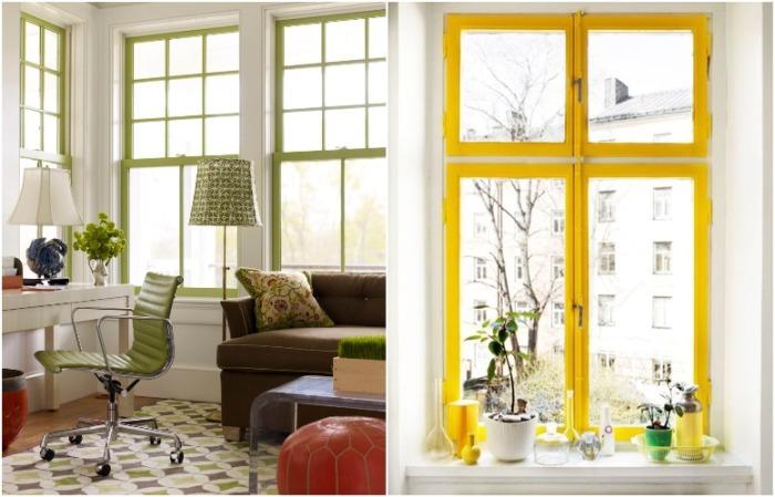 Яркие оконные рамы - это изюминка интерьера