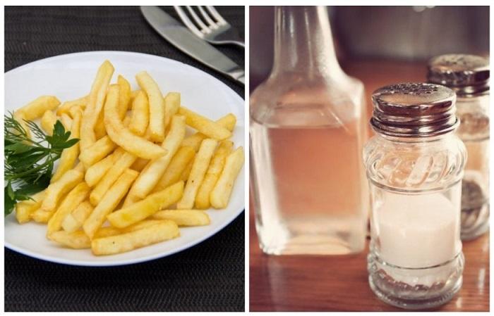 Заправка из соли и уксуса помогает картофелю стать более хрустящим