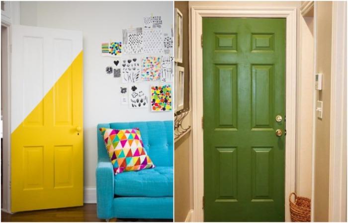 Покрасьте двери полностью или частично