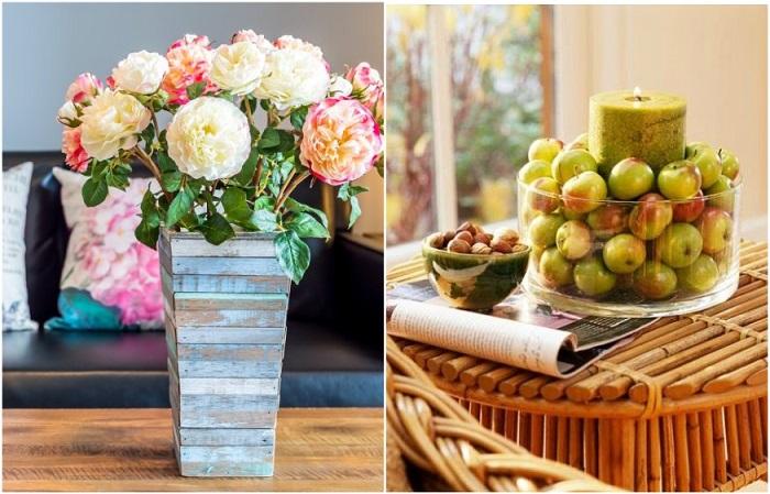 Искусственные цветы и фрукты не подходят для оформления интерьера
