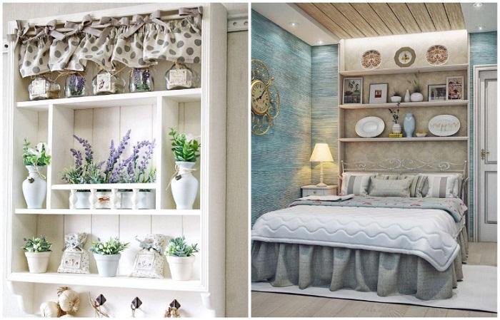 Открытые полки присутствуют и на кухне, и в спальне