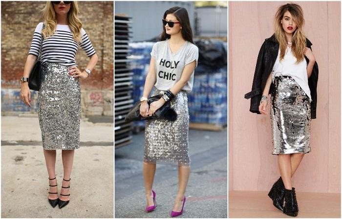 Серебристую юбку можно носить с разным верхом