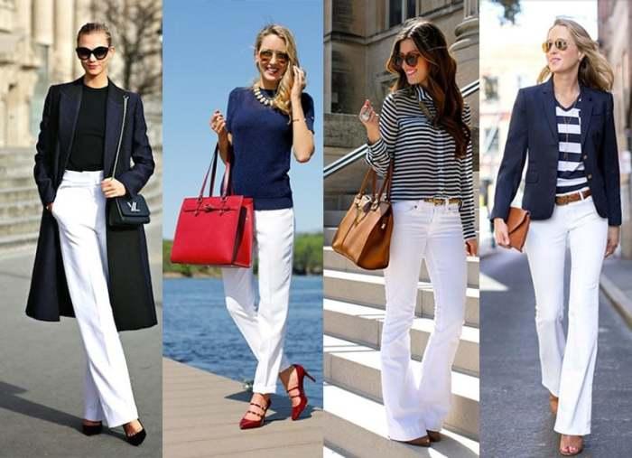 На основе белых брюк можно создать много оригинальных ансамблей. / Фото: ya-modnaya.ru