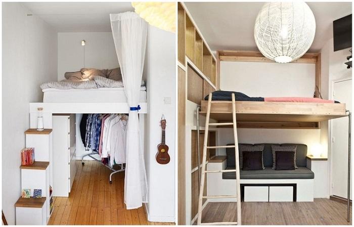 Если кровать поднять под потолок, внизу можно обустроить зону отдыха или гардеробную