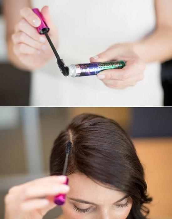 Если вы красите волосы в темный цвет, воспользуйтесь тушью, чтобы скрыть отросшие корни. / Фото: Fb.ru