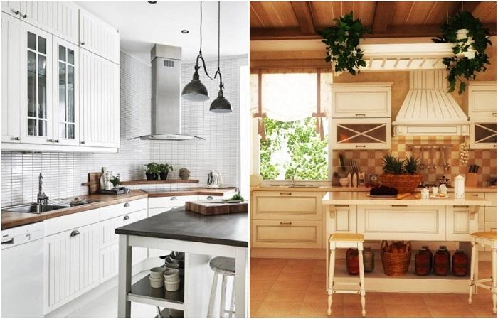 Слева кухня в скандинавском стиле, справа - в стиле кантри