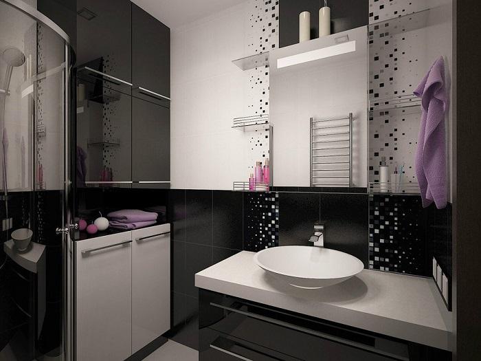 Черный цвет подходит только для санузла большого размера. / Фото: dekor.expert