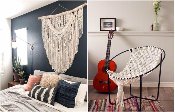 Макраме может использоваться в качестве настенного декора и украшения мебели
