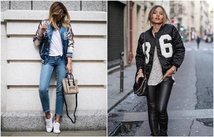 Бомбер прекрасно смотрится с джинсами и кожаными штанами