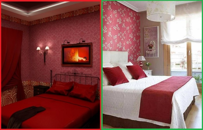 Спальня, выполненная полностью в бордовых тонах - это перебор