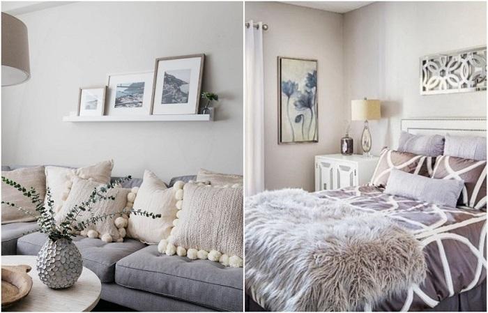 Диванные подушки и пледы всегда уместны в интерьере
