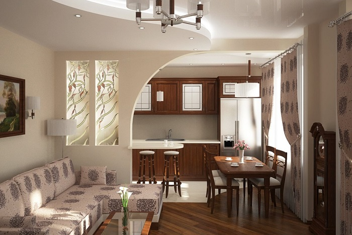 Чтобы стало больше места, снесите стену между кухней и гостиной. / Фото: rubankom.com