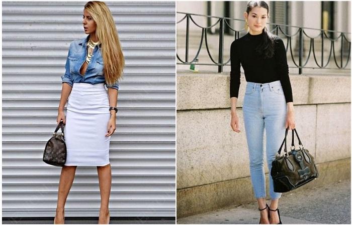Юбки и джинсы с высокой посадкой скрывают бока