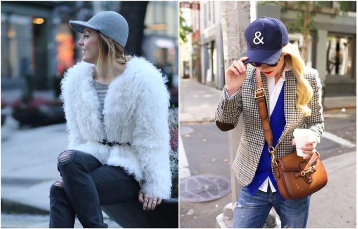Бейсболки смотрятся стильно даже с пиджаком и короткой шубой