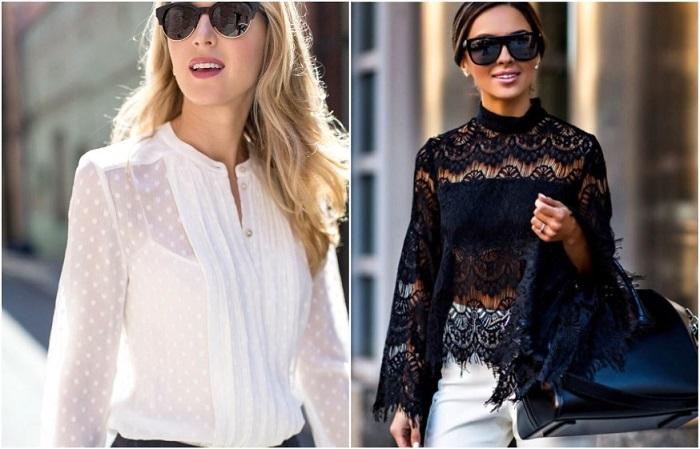 Под прозрачную блузу нужно надевать топ или майку