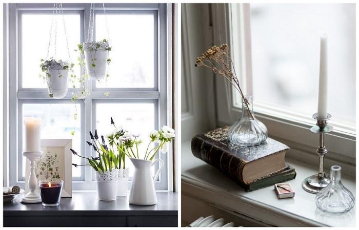 Подоконник можно украсить книгами, цветами, подсвечниками
