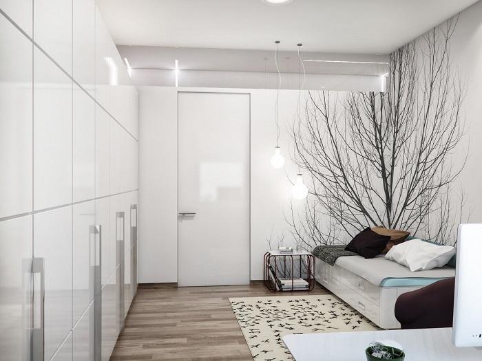 Белый цвет делает комнату визуально больше. / Фото: homester.com.ua