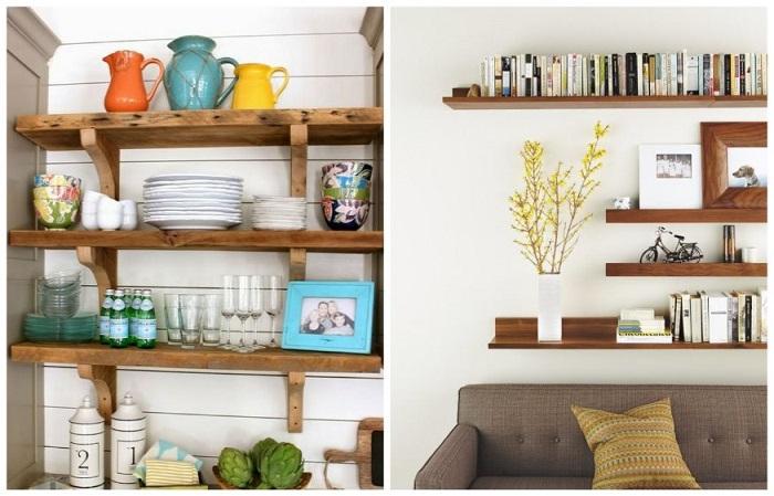 Открытые полки будут отлично смотреться, как в кухне, так и в гостиной