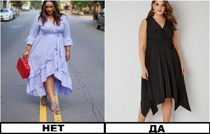 Платье с ассиметричным подолом создает иллюзию стройных ног, но оно должно быть темного цвета