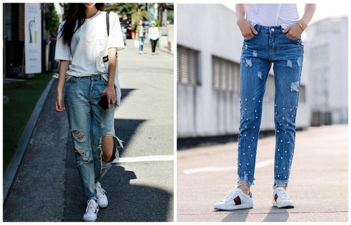 Рваные джинсы делают образ легким, дерзким