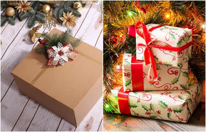 Красиво оформите коробки из-под обуви, чтобы получились подарки под елку