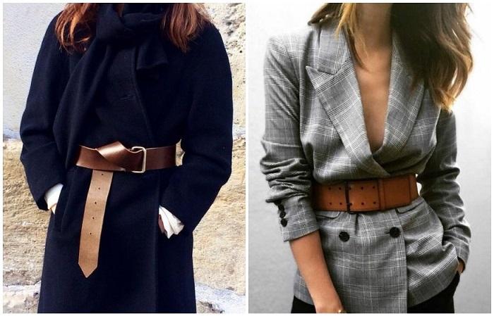 Кожаный ремень отлично смотрится в комплекте с жакетом и пальто