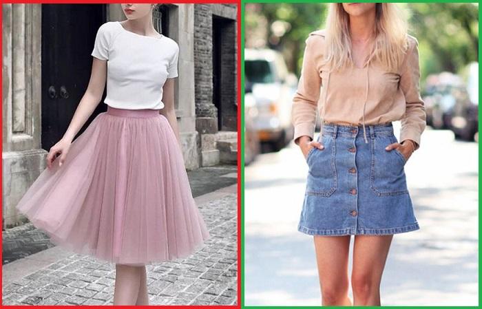 Летом будет актуальна джинсовая юбка А-силуэта на пуговицах