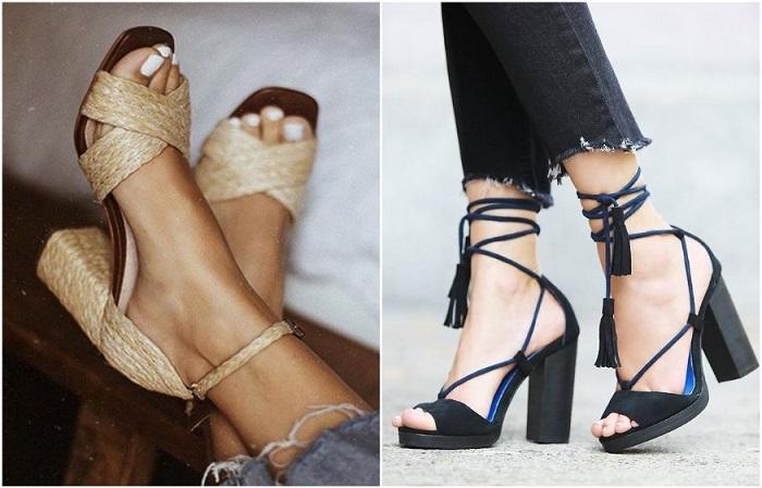 Обувь с завязками и плетеными элементами делает ногу изящной