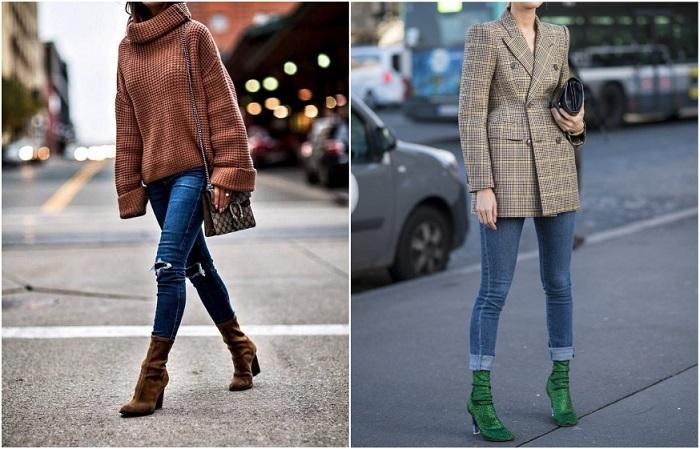 Узкие джинсы стильно смотрятся со свитером или пиджаком оверсайз