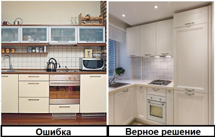 Невысокие кухонные шкафчики менее функциональные