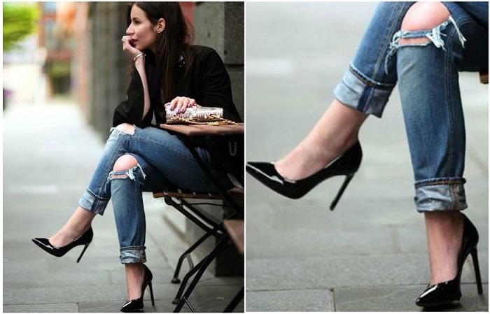 Черные туфли хорошо смотрятся с джинсами