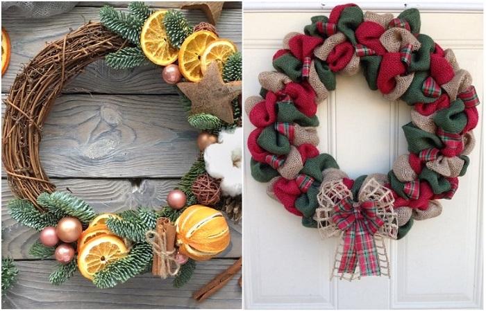 Рождественский венок можно сделать из лозы или ткани