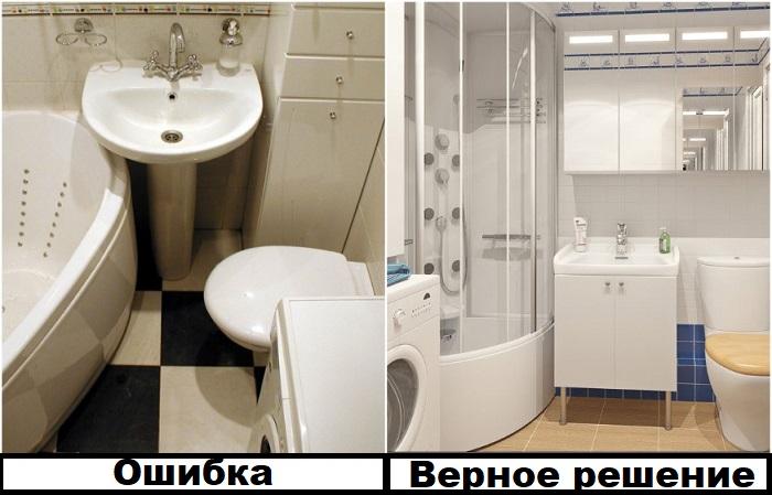 Между предметами в ванной должно быть достаточно места для маневров