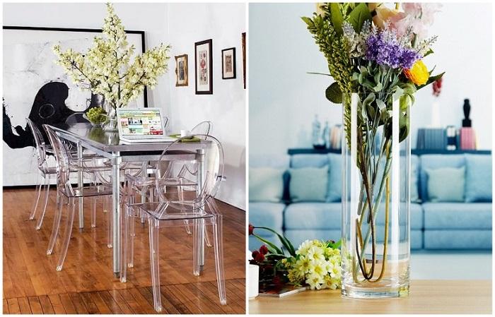 Прозрачная мебель и декор делают интерьер более воздушным