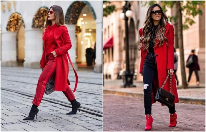 Красный цвет может присутствовать точечно или как тотал-лук