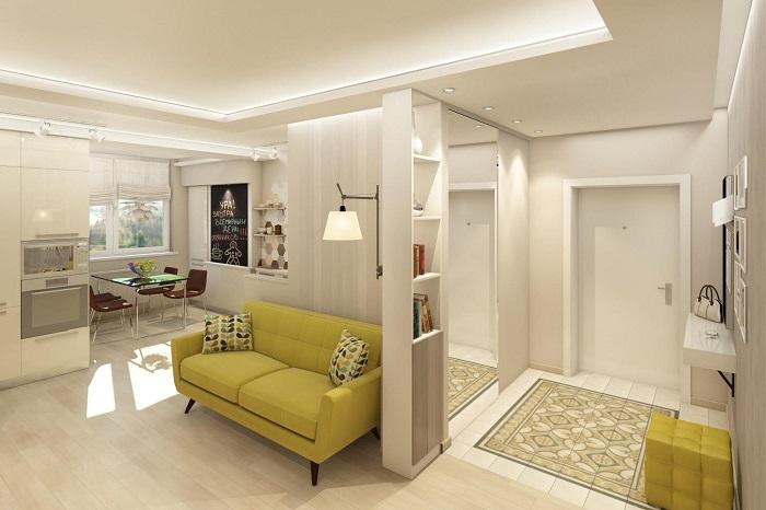 Между коридором и гостиной можно убрать дверь. / Фото: vplate.ru