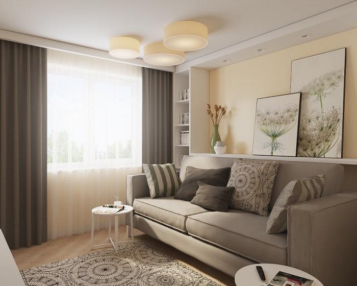 Спокойная цветовая гамма идеально подойдет для маленькой гостиной. / Фото:mykaleidoscope.ru